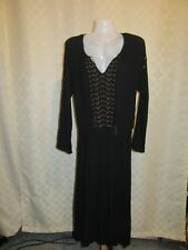 Long Sleeve lined Dresses Old Navy LG,MD,Black Beige Gold Embroidery Elastic wai