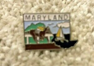 VG+ Vintage Maryland Lapel Pin Tie Tack Hat Pin Preakness Sailboat Eastern Shore