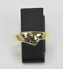 Rubin Safir Smaragd Ring in 14 Karat Gelbgold  Ringgröße 54 Damen Nr.669