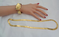 VINTAGE CLAMPER 70'S GOLD PLATED HINGED BRACELET W, LONG NECKLACE FLAT CHAIN