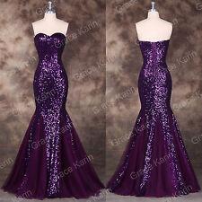 Purple Women Sequin Long Mermaid Formal Evening Gown Prom Dress Wedding Ball New