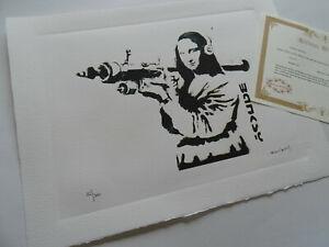 Banksy Mona Lisa+ Certificate of Authenticity original COA