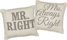 """Mr Right & Mrs Always Right Throw Pillows, 10"""" x 10"""", Primitives by Kathy"""