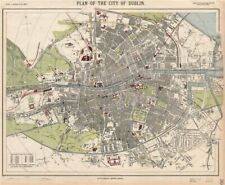 DUBLIN antique town city map plan. Railways tram routes stations. LETTS 1889