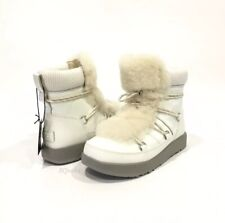 UGG HIGHLAND WATERPROOF SNOW BOOTS WHITE PATENT LEATHER / SHEEPSKIN -US 8 -NEW