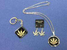 Vintage 1970's Marijuana Cannabis Leaf  Earrings  Keychain Necklace lot