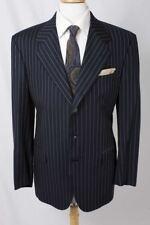 Ravazzolo Size 56R Navy Pinstripe 100% Wool Three Button Blazer 1152 L717