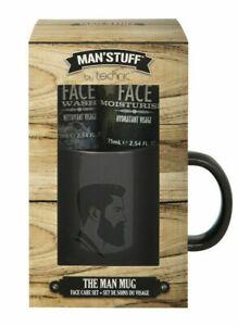 MAN STUFF Gift Set Coffee Mug Face Wash Moisturiser - NEW AND BOXED