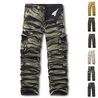 Mens Outdoor Long Pants New Cotton Cargo Combat Trousers Military Sports Slacks