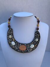 Necklace Beaded Orange Brown Amber Tones Leather Back Erica Lyons