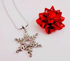 Snowflake Necklace Silver Rhinestone 15 Inch Snake Chain Branch Design Flake