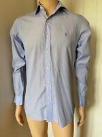 """Polo Ralph Lauren Formal Work Smart Mens Shirt 14 1/2 37 Blue S Small XS 20"""""""