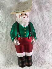 Patricia Breen glass Santa with suspenders ornament