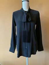 EQUIPMENT True Black Washed Silk Tie Neck With Fringe Blouse Shirt Top Size XS