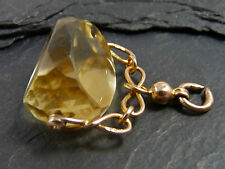 Antique 9ct Gold & Yellow Crystal Spinner Seal Charm Fob - Chester 1909