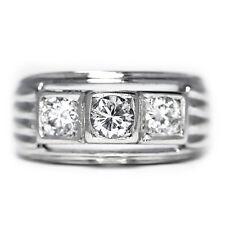 Modern Three Stone Round Diamond Engagement Ring in White Gold .50ctw