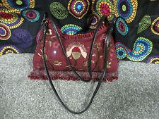 Express Burgundy Shoulder Bag w/Multi-Color Embroidered Floral Design w/Sequins