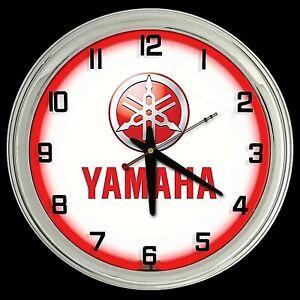 "16"" Yamaha Sign Red Neon Clock Motorcycle ATV Jet Ski UTV Dirt Bike Off Road"