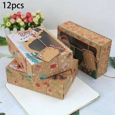 12Pcs Christmas Candy Cookie Boxes Xmas Gift Box Cupcake Muffin Packaging Boxes