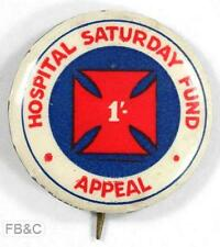 Vintage Hospital Saturday Fund Appeal 1/- Pin Badge - White Border