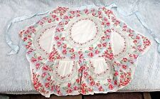 Pink White Red Floral Shear Ladies Apron Women's Church Supper Potluck FREE S/H