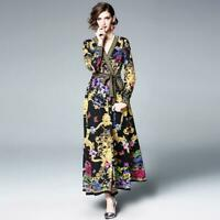 9f457d265 Womens Runway Floral Printed Long Maxi V Neck Sexy Retro Lace Up Dress Gown  A065