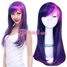 My Little Pony Twilight Sparkle Purple&Pink 55cm Long Hair Cosplay Wigs+Wig Cap