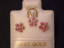 Rubin & Brillant - Schmuckset - Blüten - 14 Kt. Gold - 585 - Ohrringe & Anhänger