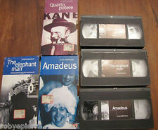 Vendo 3 Videocassette insieme VHS Amadeus THE ELEPHANT MAN Quarto Potere anni 80