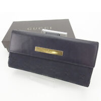 Gucci Wallet Purse Long Wallet GG Black Gold Woman Authentic Used Y5003