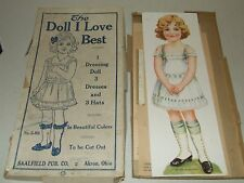 """Antique 1910 Saalfield """"The Doll I Love Best"""" Uncut Paper Doll with Original Box"""