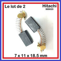 Lot de 2 Balais Charbons 7 x 11 x 18.5 mm HITACHI HIKOKI 999020