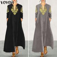 Mode Femme Simple Manche Longue Imprimé Col V Ample Casuel Club Dress Robe Plus