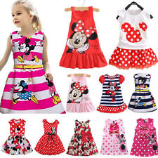 Baby Kids Girls Disney Minnie Mouse Party Dress Sleeveless Summer Skirt Clothing