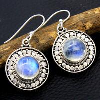 Bali Style Rainbow Moonstone Gems 925 Sterling Silver Jewelry Dangle Earrings