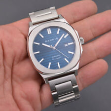 45mm PARNIS Mechanical Automatic Mens Watch Blue Dial Sapphire Crystal Watch Men