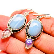 """Owyhee Opal, Rainbow Moonstone Sterling Silver Earrings 1 7/8"""" Jewelry E410421F"""