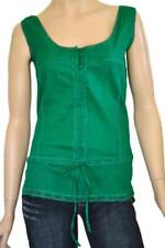 SPICY SUGAR SZ 8 WOMENS Green Lace Trim Button Front Drawstring Sleeveless Top