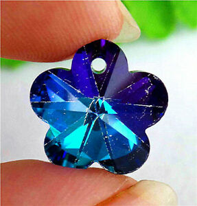 13x13x7mm Blue Plating Titanium Crystal Carved Flower Pendant Bead AP14823