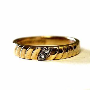 10k yellow gold .03ct VS H womens round diamond wedding band 4.4g ring estate 10
