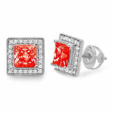 2.30 Princess Round Cut Halo Red Simulated Diamond Stud Earrings 14k White Gold