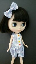 Blythe Doll Outfit Clothing Cute Rabbit Print Purple Jumpsuit  + hair bow clip
