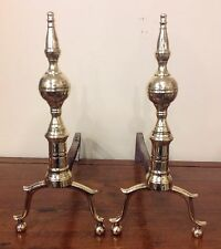 Antique 18/19th Century Brass Steeple Top Andirons