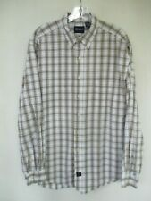 Catalina Men's Size Large 100% Cotton White Plaid Long Sleeve Button-Front Shirt