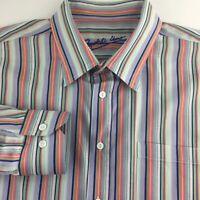 Bugatchi Uomo Blue Shirt  XXL Green Coral White Stripe Button Down Long Sleeve