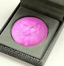 Lalique Kitten Cat Chat Pink Frosted Cyrstal Domed Circle Pin Brooch Pendant