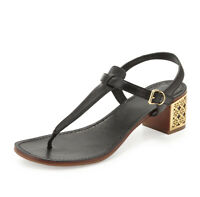 Tory Burch Navy Audra Sandals Womens Size 6.5 Thong Buckle Leather Strappy Heel