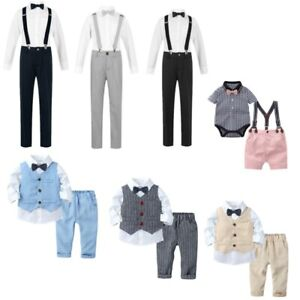 Baby Boys Birthday Set Gentleman Suit Bowknot Shorts Romper Shirt Party Outfit