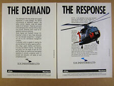 1988 AgustaWestland EH101 AW101 Helicopter photo vintage print Ad