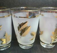 Vintage 1960s Libbey Frosted Gold Leaf Tea/Water Glass with Gold detail